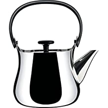 """Alessi """"Cha"""" Kettle/Teapot in 18/10 Stainless Steel Mirror Polished Handle And Knob in Thermoplastic Resin Magnetic Steel Bottom Suitable For induction Cooking, Silver"""