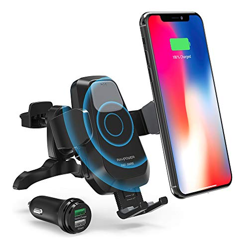 RAVPower Qi Wireless Car Fast Charger 7.5W / 10 W Phone Holder Car Vent Electric Lock Release Compatible iPhone Xs Max XR X 8 Plus Galaxy S9 S8 Plus Note 9 8 - Car Charger Included