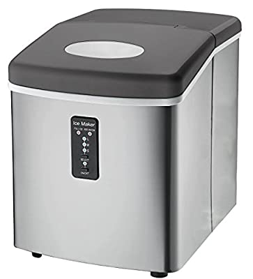 Ice Machine - Portable, Counter Top Ice Maker MachineTG22 - Produces 26 lbs Of Ice Per 24 Hours - Stainless Steel - By ThinkGizmos (trademark protected)