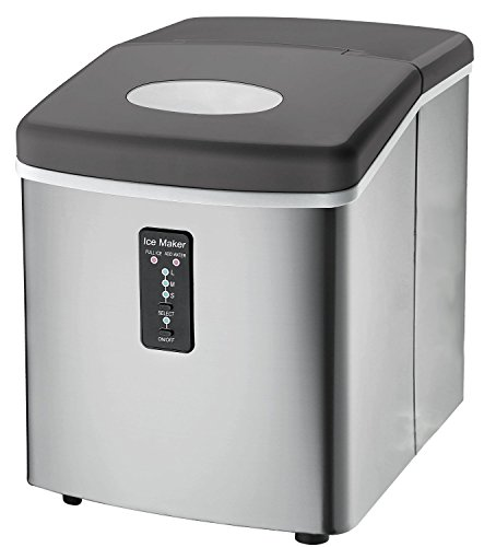 : Ice Machine - Portable, Counter Top Ice Maker Machine TG22 - Produces 26 lbs Of Ice Per 24 Hours - Stainless Steel - Top Rated Ice Maker For Countertop use By ThinkGizmos (trademark protected)