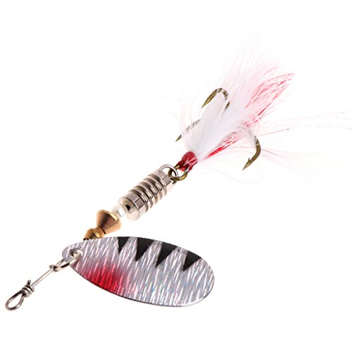 Crankbait Perch (ULKEME 1 PCS 9cm Sequin Spoon Metal wobble Fishing Lures Spinner Baits CrankBait Bass White)