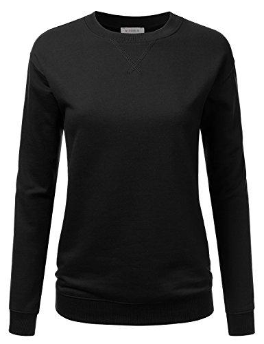 Doublju Crewneck Loose Fit Raglan Sleeve Fleece Pullover Sweatshirt For Women Black Medium