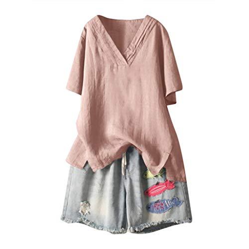 - Cewtolkar Women Summer Blouse Plus Size Shirt Cotton and Linen Tops V Neck Tunic Short Sleeve Tees Casual T Shirt Pink