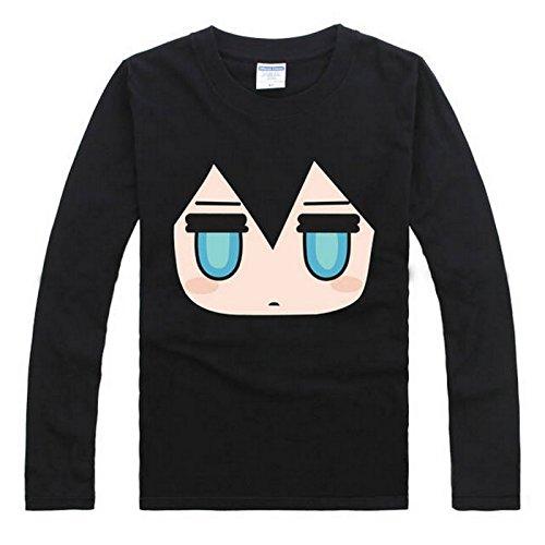VOCALOID 2 Miku Hatsune Cosplay Costume Anime Long Sleeves Tee T-Shirt (XL, Black)