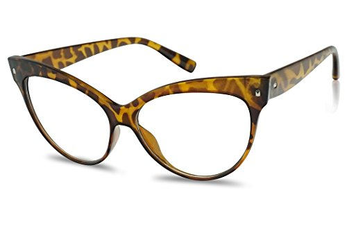 Sunglass Stop - Oversized Round High Pointed Vintage Mod Clear Lens Uv400 Cat Eye Glasses (Tortoise , Clear )]()