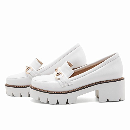 Mee Shoes Women's England Platform Slip On Block Mid Heel Court Shoes White 91nJYxv4
