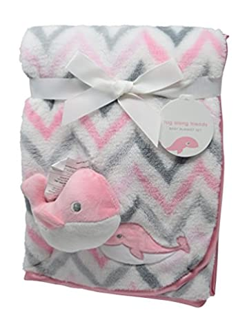 Chevron Printed Minky Cozy Baby Blanket With Satin Binding and Stuffed Animal Gift For Boys and Girls, Unisex, Stroller Blanket and Baby Shower Gift Tag Included (Pink (Animal Baby Blankets For Girls)