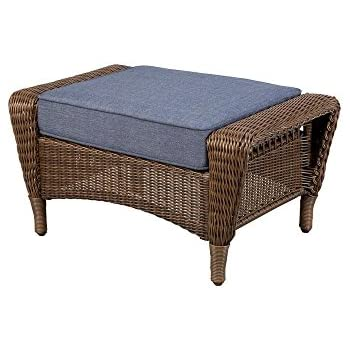 Wonderful Hampton Bay Spring Haven Brown All Weather Wicker Patio Ottoman With Sky  Blue Cushion