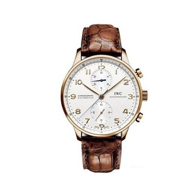 (IWC Portuguese Silver Dial Chronograph Rose Gold Leather Automatic Mens Watch IW371480 )