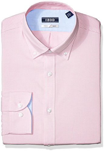 IZOD Men's Dress Shirts Slim Fit Stretch Gingham, Petal, 14.5