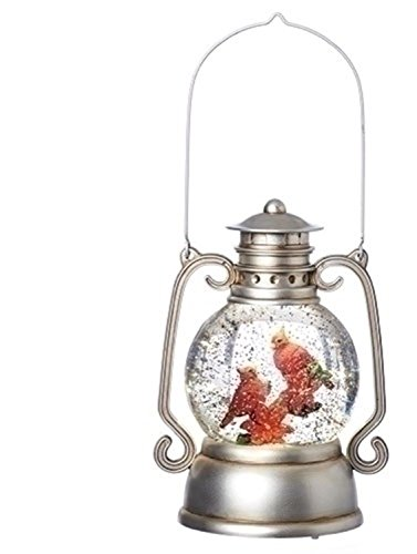 11'' Orange and Silver Lantern With Cardinal On Branch by Roman