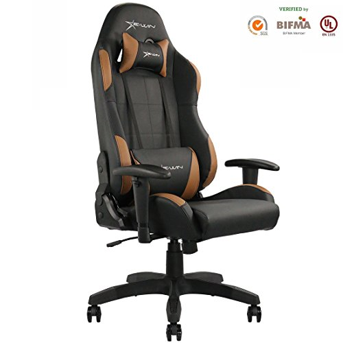 Ewin Gaming Chair with Adjustable Armrest and Backrest High-back Ergonomic Computer Chair , Leather Swivel Executive Office (Leather Backrest)