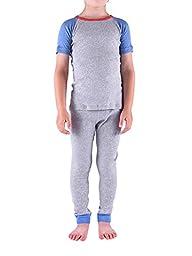 Colored Organics Boys\' Organic Toddler Loungewear - Heather Blue / Heather Grey - 5T