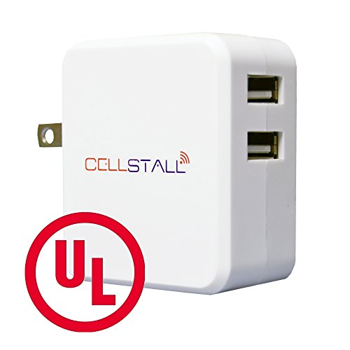Cellstall Dual USB Charger, UL Certified, Wall Adapter. Ideal Travel AC High Speed Rapid Plug for Apple, Android, Samsung, HTC, Kindle and MP3 - White