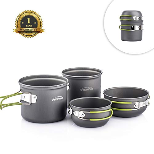 Overmont Ultralight Camping Cookware Set Camping Stove Backpacking Set Outdoor Cooking Mess Kit Camping Kettle Pots and Pans Coffee Kettle
