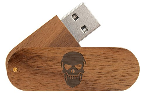 16 Gigabyte USB Flash Drive Black Walnut NDZ NDZ Skull 12