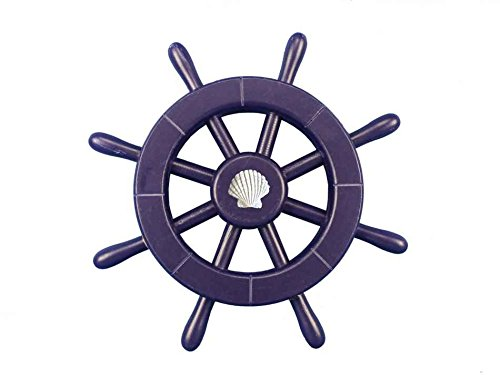 "Dark Blue Decorative Ship Wheel With Seashell 12""- Beach Decorating Ideas- Wood"