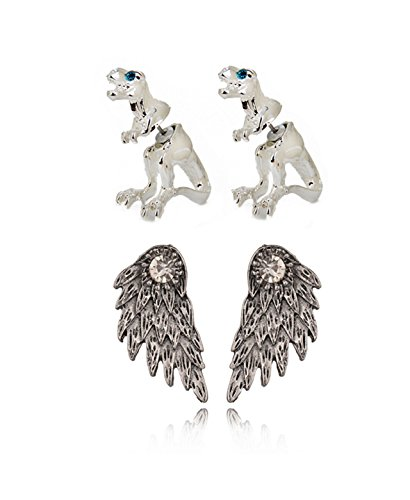 Spiritlele 2 Pairs 3D Animals Dinosaur Crystal Wings Cat Fox Stud Earrings Set for Women Girls