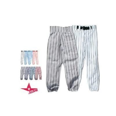 YOUTH Pin Stripe Baseball/Softball Pants (Medium Weight, Double Knees, Zipper, Belt Loops, Back Pocket) (Grey/Black Pinstripes, Youth Large (28-30)) by All Star