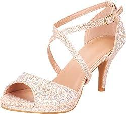 Champagne Open Toe Strappy Crisscross Rhinestone Mid Heel Sandal