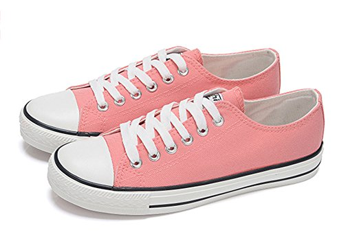 Aisun Womens Comfy Breathable Round Toe Low Tops Running Lace Up Platform Canvas Sneakers Flats Skateboard Shoes Pink Hv3o0Ru85i