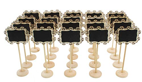 (20pc) Chalkboard Tabletop Signs with Stand Place Holders Candy Food Dessert Table Setting Signs Party Holiday Wedding Message Memo Board Buffet Food Table Number Name Signs -