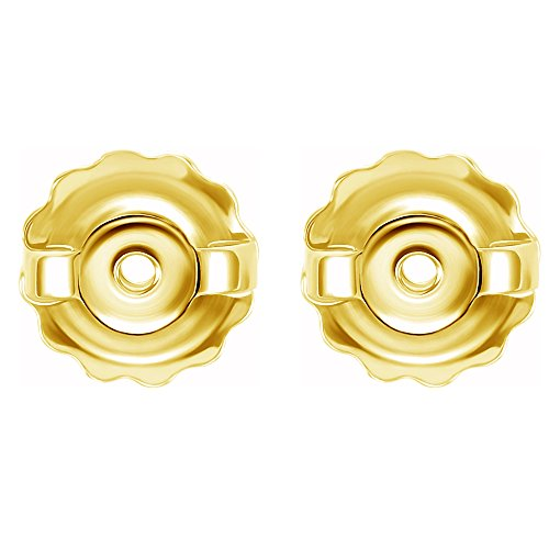 Back Screw Design Earrings (14k Yellow Threaded Earring Back Yellow Gold)