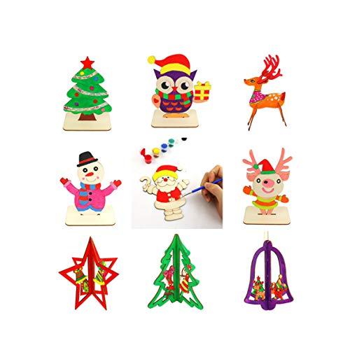 Rabung Holzmalerei DIY Handwerk Holz Spielzeug 3D aus Holz Bastelset Kids Fingerfarbe Set Bastelsets für Kreative Künstler und Bastelbedarf zum Basteln und Dekorieren zur Winterzeit Malschablonenset