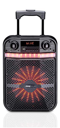 Wireless Portable PA Speaker System - 300W Bluetooth Compatible Battery Powered Rechargeable Outdoor Sound Speaker Microphone Set with MP3 USB SD FM Radio AUX, LED Dj Lights, Wheels - Pyle PWMA337BT