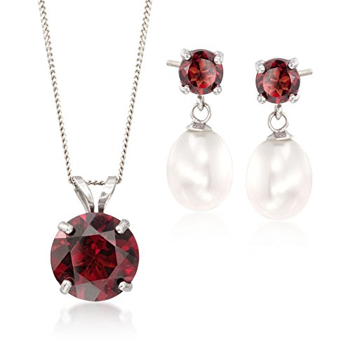 Ross-Simons 2.70 ct. t.w. Garnet and 7-7.5mm Cultured Pearl Jewlery Set: Earrings and Necklace in Sterling Silver