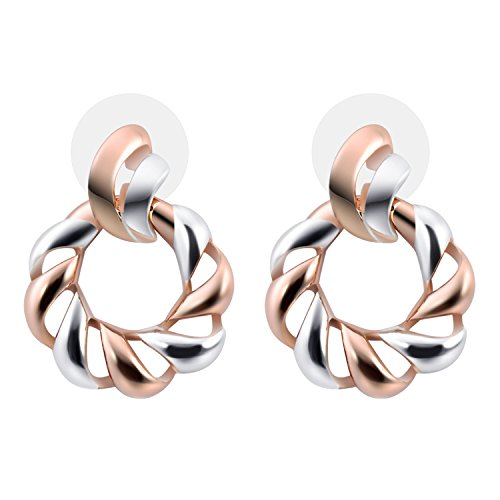 Farnlior Rose Gold and Silver Plated Women's Rope Twist Small Round Hoop Earrings Two-tone