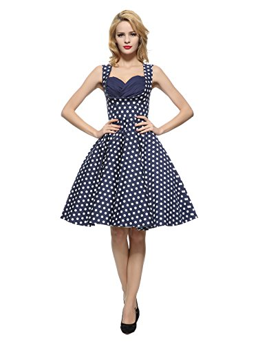 Maggie Floral Tang Dots Women's Navyblue Dress Vintage Garden With 1950'S White HwHpxaqr