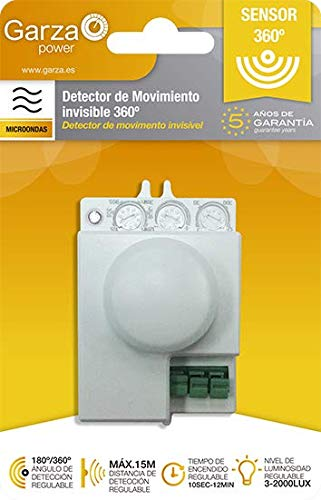 Garza Power - Detector de Movimiento Microondas Invisible, ángulo detección Regulable 180º / 360º, color Blanco: Amazon.es: Bricolaje y herramientas