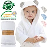 Channing & Yates - Premium Baby Robe - Toddler Robe - Certified Organic Bamboo Hooded Bathrobe Towel - Thick & Soft - Toddler Essentials - Boutique Quality Baby Shower Gift (Beige Gingham)