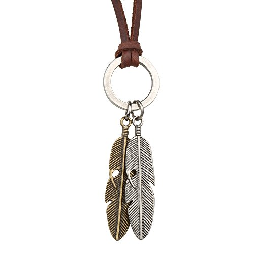 Gyand Mens Womens Adjustable Vintage Long Leather Cord Boho Pendant Necklace 2 Feathers Charm Necklace