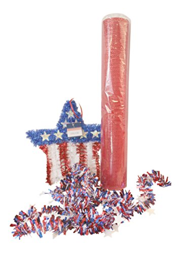 3 Pc Patriotic Star Tinsel Mesh Wreath Decorating Bundle: Star Tinsel Shape, 21