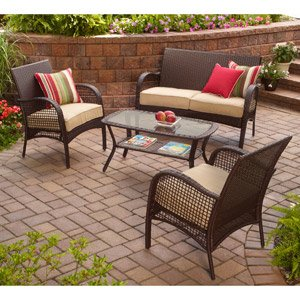 Awesome INDOOR/OUTDOOR PATIO FURNITURE ALL WEATHER WICKER 4 PC WITH SEAT COVERS