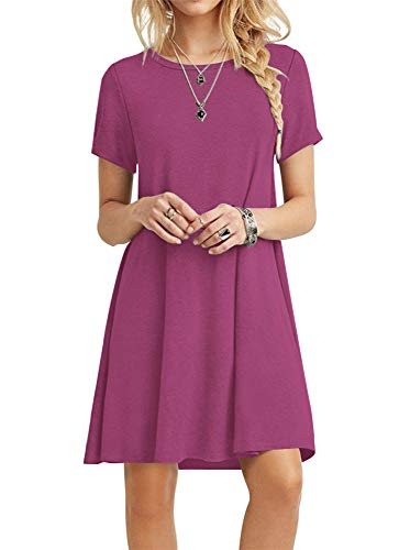 T-shirt Underwear Pattern - POPYOUNG Women's Summer Casual T Shirt Dresses Beach Dress 2X-Large, Mauve