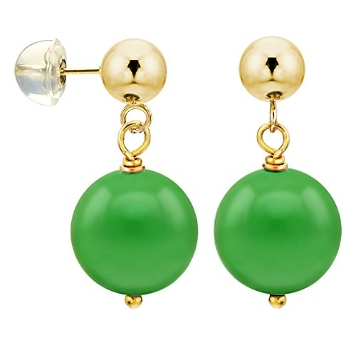 (14k Yellow Gold with 10mm Simulated Green Jade Stud Dangle Earrings)