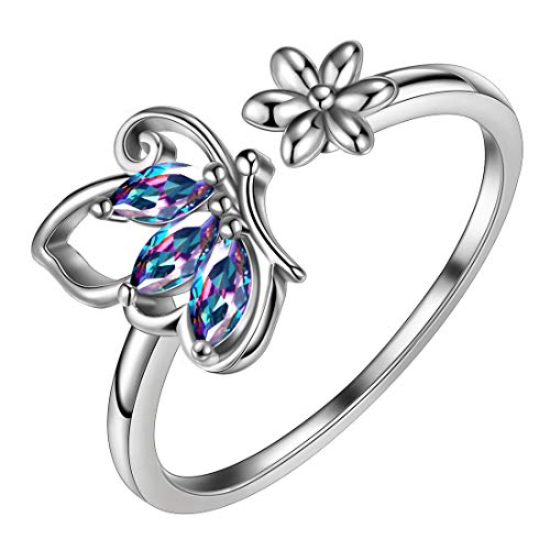 Aurora Tears Mystic Topaz Rings Butterfly 925 Sterling Silver Butterflies & Daisy Flower Adjustable Ring Wedding Jewelry DR0074M