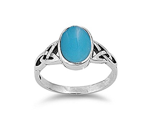 Oval Simulated Turquoise Stone Wicca Weave Ring Sterling Silver Size 8