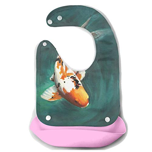 Price comparison product image NKZSUX Oil Painting Koi Fish Baby Bibs Removable Bib Easily Wipes Toddlers Soft Feeding Bibs Food Catcher Pocket Baby Gifts