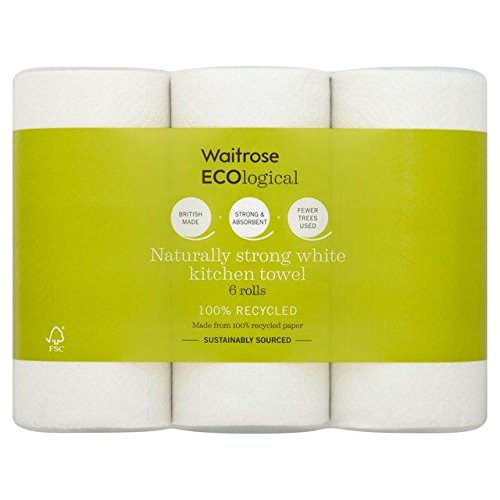ECOlogical White Kitchen Towels Recycled Waitrose 6 per pack (Pack of 6)