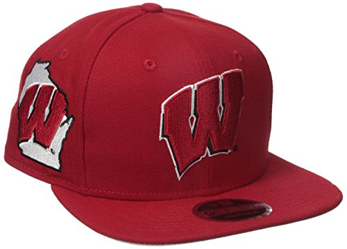 New Era NCAA Wisconsin Badgers State Clip Snap 9FIFTY Cap, One Size, Red
