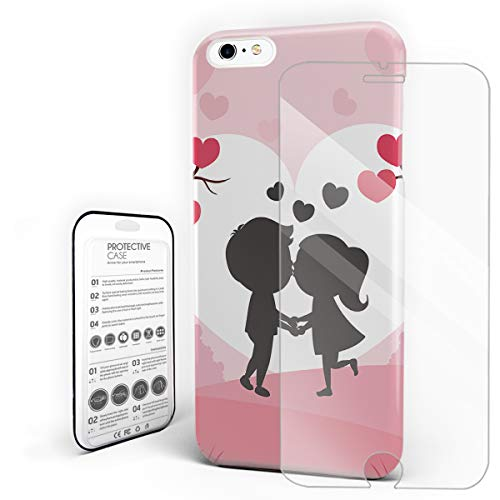 Phone Case for iPhone 6 plus/6s Plus Case Cover, Young Couple Kissing Around Sakura Cartoon Valentine's Day Scene, Protective Shock-Absorbing Scratch-Resistant Rugged Cover Hard Back Case