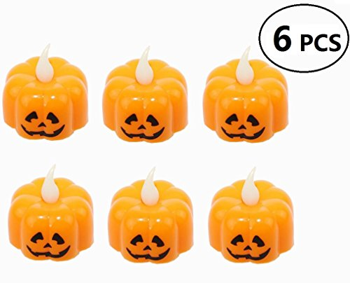 EBTOYS Battery Operated Tealight Candles Halloween Spider Pumpkin Shaped LED Tea Light for Holiday Christmas Halloween Thanksgiving Party Light 6 Pack (Orange)
