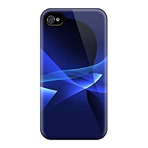 Flexible Tpu Back Case Cover For Iphone 4/4s - Blue Waves Abstract
