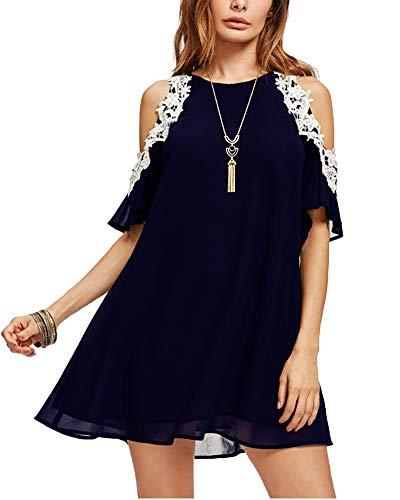 Roiii Women's Casual Chiffon Lace Dress Crewneck Solid