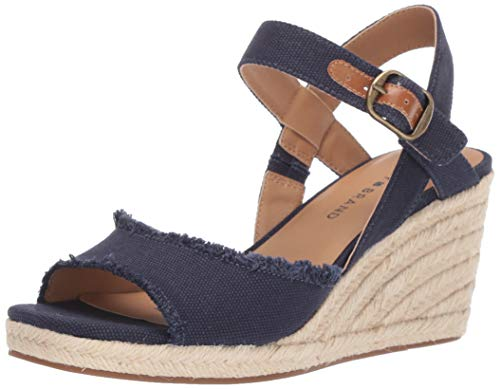 Blue Wedge Shoes - Lucky Women's MINDRA Espadrille Wedge Sandal, Indigo, 10 M US