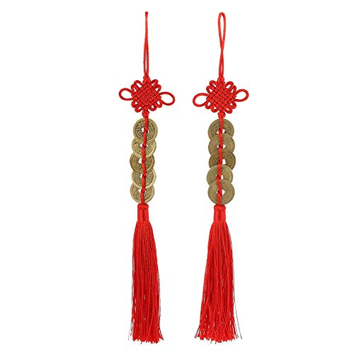 Topxome Retro 5 Coins Red Chinese Knot Copper Feng Shui Wealth Success Lucky Charm Home Car Hanger Decors (Pack of 2)